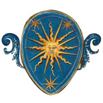 gold sun on blue shield