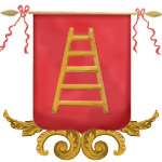 della scala, ladder on red background, Prince Escalus, Bartolomeo della Scala